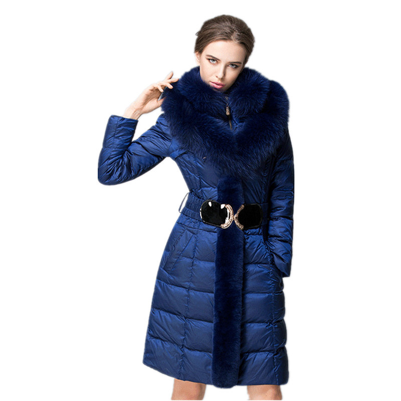 Down Winter Fashion Jacket Women Fox Fur Collar Slim Warm Down Coat Female Long Parka Ladies Elegant Outwear Hooded 754