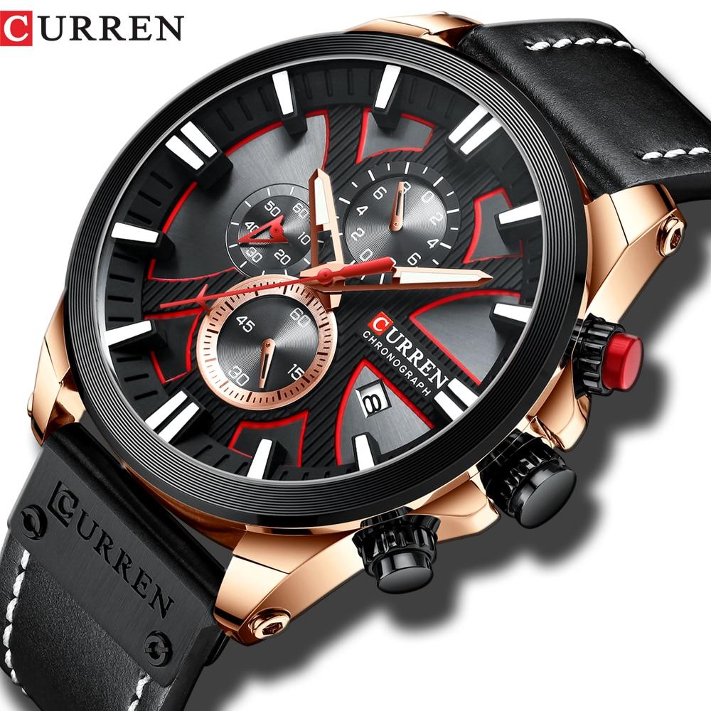 mens watches top brand luxy Fashion Chronograph Sport Quartz Wristwatch CURREN Leather Strap Watch With Date Relogio Masculino