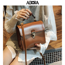 цена на ADORA PU Leather Crossbody Bags For Women 2019 Small Flap Crossbody Shoulder Messenger Bag With Metal Handle Lady Travel Totes