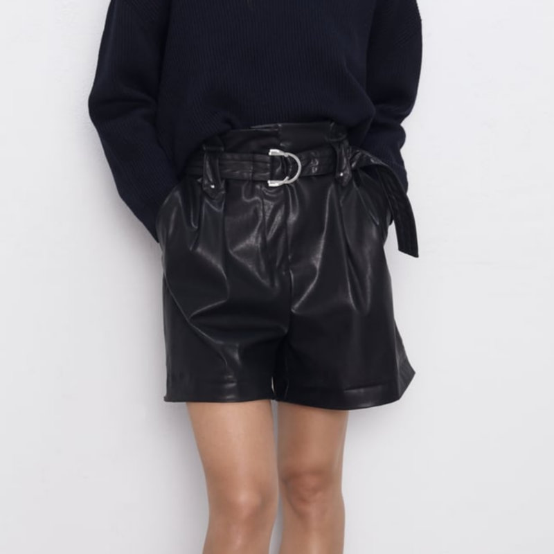 2020 Women Black PU Leather High Waist With Belt Wide Leg Faux Leather Shorts High Quality Autumn Winter Loose PU Short Pants