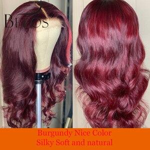Beeos 13*6 волнистые бордовые 99J цветные человеческие волосы на кружеве, парики 150% для женщин, предварительно выщипанные бразильские волосы remy