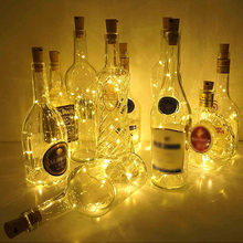 Battery Powered Wine Bottle Lights with Cork 1M/2M LED Copper Wire Colorful Fairy Lights String for Party Wedding Indoor Decor