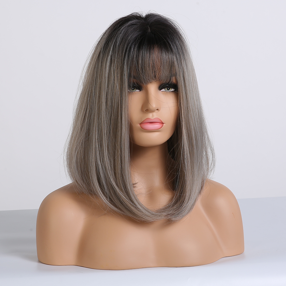 Image 4 - ALAN EATON Straight Short Wigs for Black Women Natural Black Ash Blonde Ombre Bobo Synthetic Wigs with Bangs Lolita Cosplay WigSynthetic None-Lace  Wigs   -