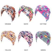 Krzyżowy węzeł Twist Turban kobiety opaski Casual kobieta muzułmańskie indyjskie kapelusze damskie akcesoria do włosów modny nadruk czepek dla osób po chemioterapii