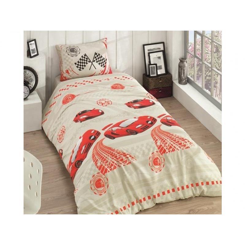 Bedding Set полутораспальный KARNA, RANFORCE, RACER, Orange ranforce bedroom set cotton box ranforce bedroom set