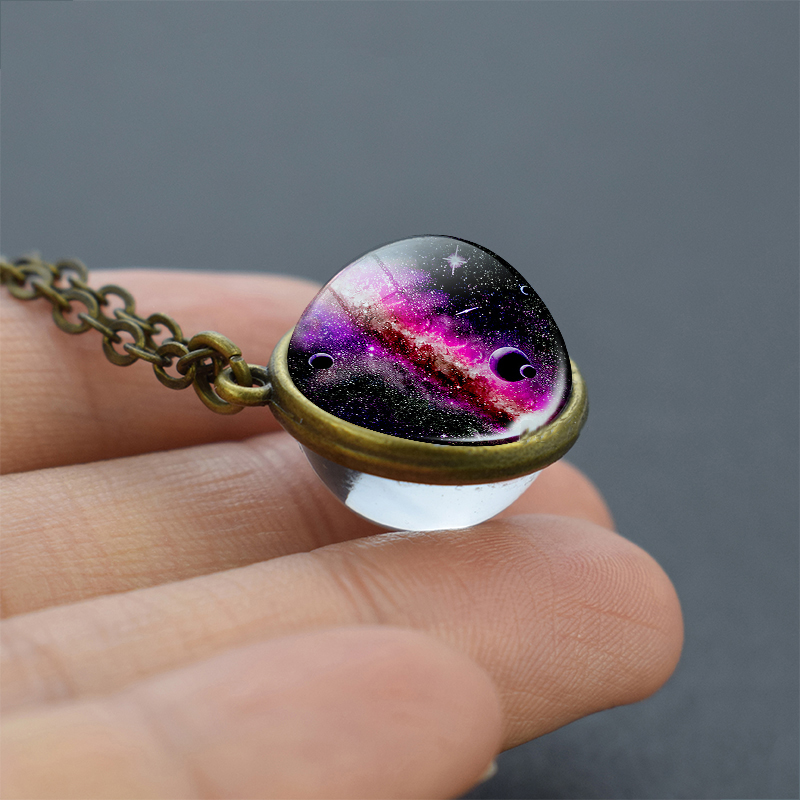 Universe Star Glass Ball Necklace Double Size Glass Cabochon Pendant Planet Jewelry Vintage Chain Necklace