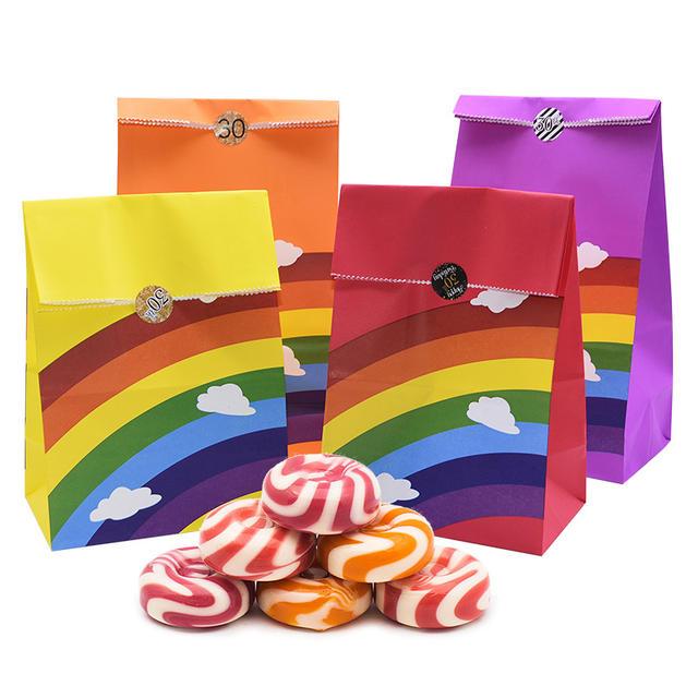 Colorful Rainbow Printed Paper Bag Set 10 Pcs