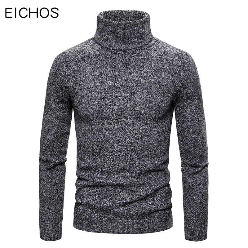 Winter Sweater Men Solid Color Turtleneck Sweaters Warm Casual Knitted Pullovers 2019 New Brand Thick Warm Sweater Hombre EICHOS