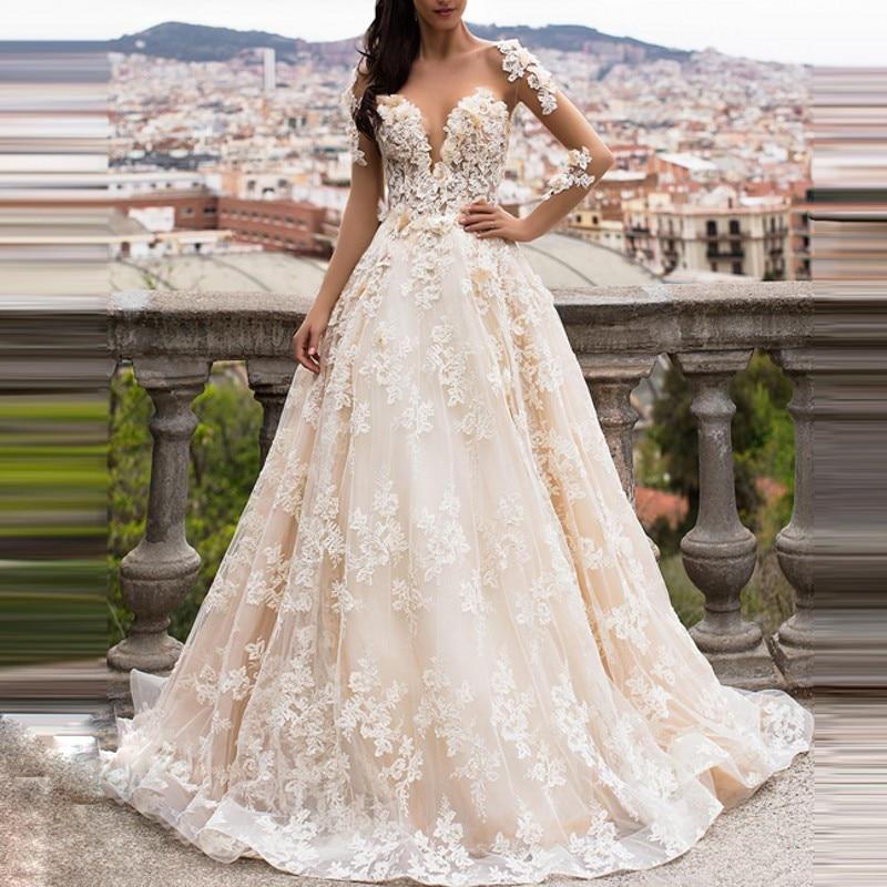 Casamento Beaded Wedding Gowns Long Floral Bridal Dresses Vestido De Noiva Appliques Gelinlik Wedding Dress Open Back Custom