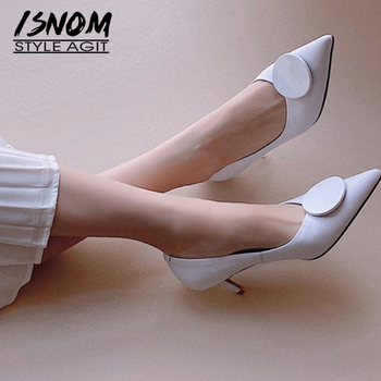 ISNOM Thin High Heels Women Pumps Office Ladies Shoes Pointed Toe Slip On Shallow Genuine Leather Kitten Heels Dress Party Pump