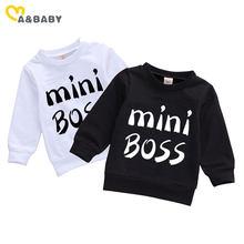 Ma & Baby-sudaderas con capucha para bebé recién nacido, ropa para parte superior de manga larga con letras Mini Boss, 0 a 24 meses, otoño y primavera
