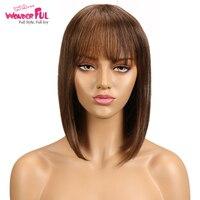 Short Cut Bob Wig Brazilian Remy Human Hair Wigs For Black Women Brown Red Mix Color Machine Made Wig #4 #1B Free Ship