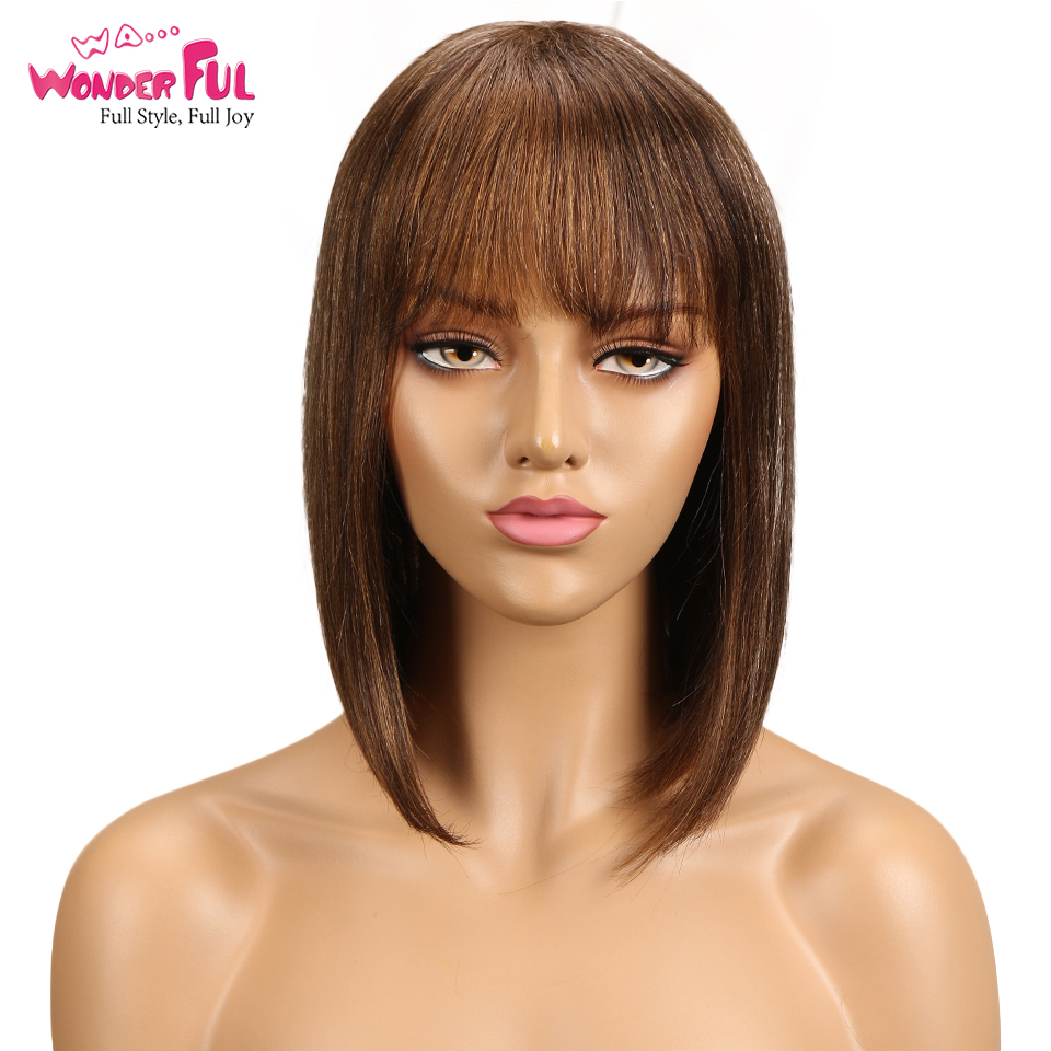 Short Cut Bob Wig Brazilian Remy Human Hair Wigs For Black Women Brown Red Mix Color Machine Made Wig #4 #1B Free Ship