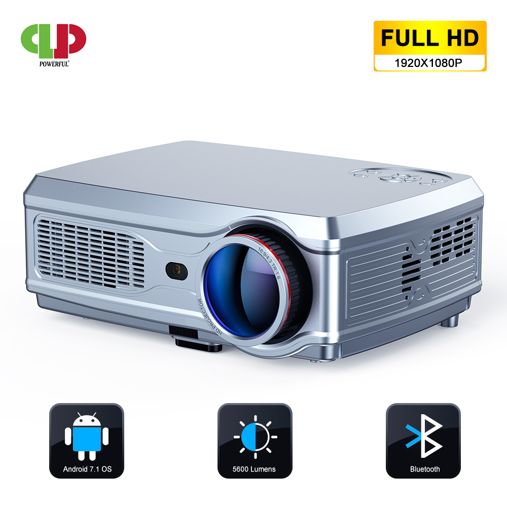 POWERFUL Full HD Projector 1920*1080P LED Proyector Android 7.1(2G+16G) With Wifi Bluetooth AC3 Support 4K Home Cinema Beamer