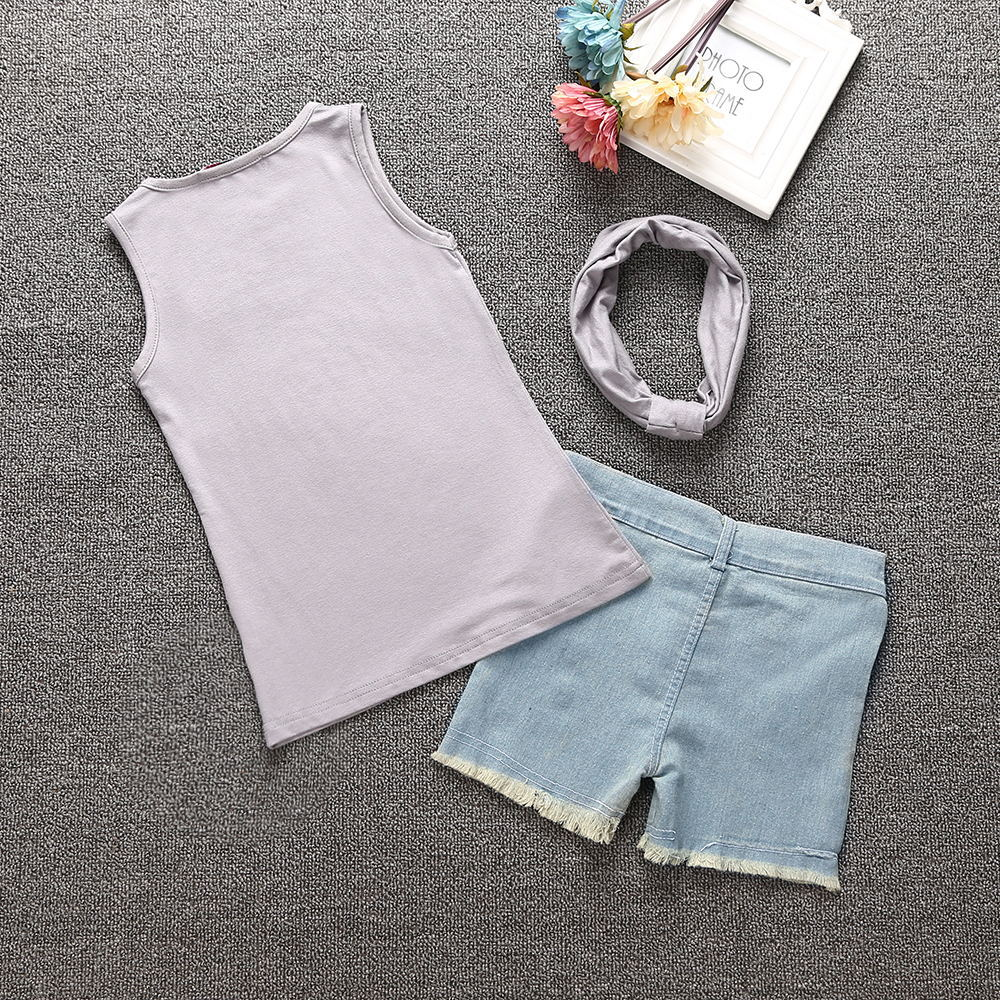 BORUMEX Korean girls summer T shirt denim fashion three piece set summer children 39 s clothing suit trendy girls casual suit in Clothing Sets from Mother amp Kids