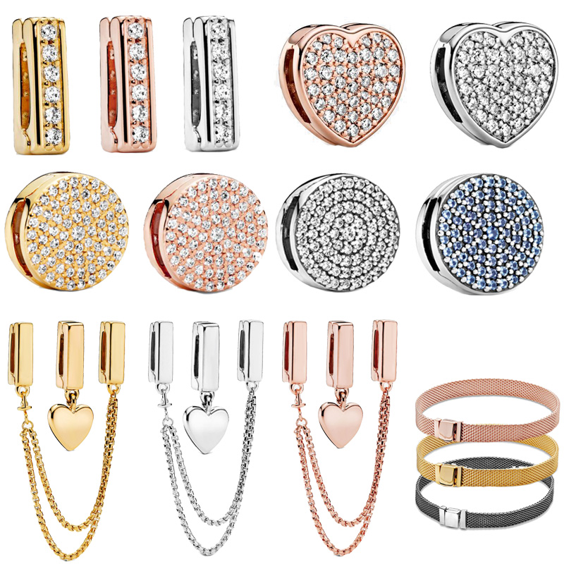 100% 925 Sterling Silver Timeless Sparkling Clip Charms ,fit Original Pandora Reflexions Bracelet,Gift For DIY Jewelry Beads