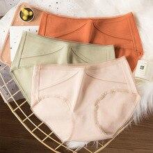 Wasteheart Women Fashion orange Green Cotton Mid Waist Panties Underwear Lingerie Briefs 3 Piece Color Underpants M L XL