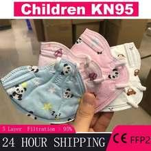 Mascarilla kn95 de 5 capas con dibujos animados para niños y niñas, Máscara protectora de seguridad ffp3, para chico y niña de 3 a 13 años