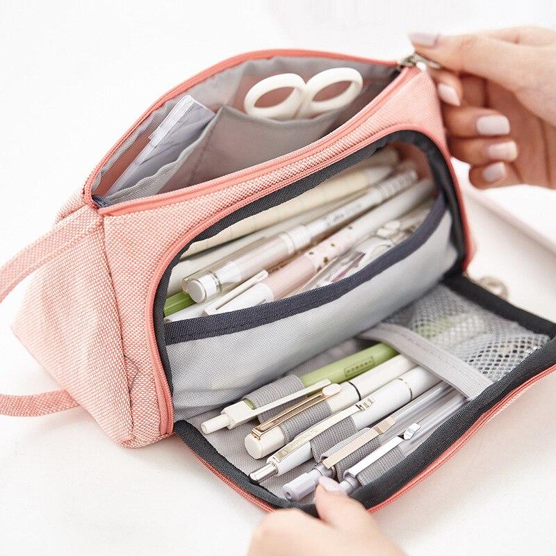 Multifunction Cotton Linen Large Capacity Pencil Pen Case School Pencil Bag Pouch Stationery Korean Sweet Cosmetic Makeup Bag