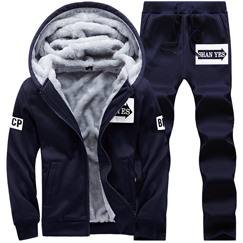 New Winter Tracksuits Men Set Thicken Hoodies + Pants Suit Spring Sweatshirt Sportswear Set Male Hoodie Sporting Suits