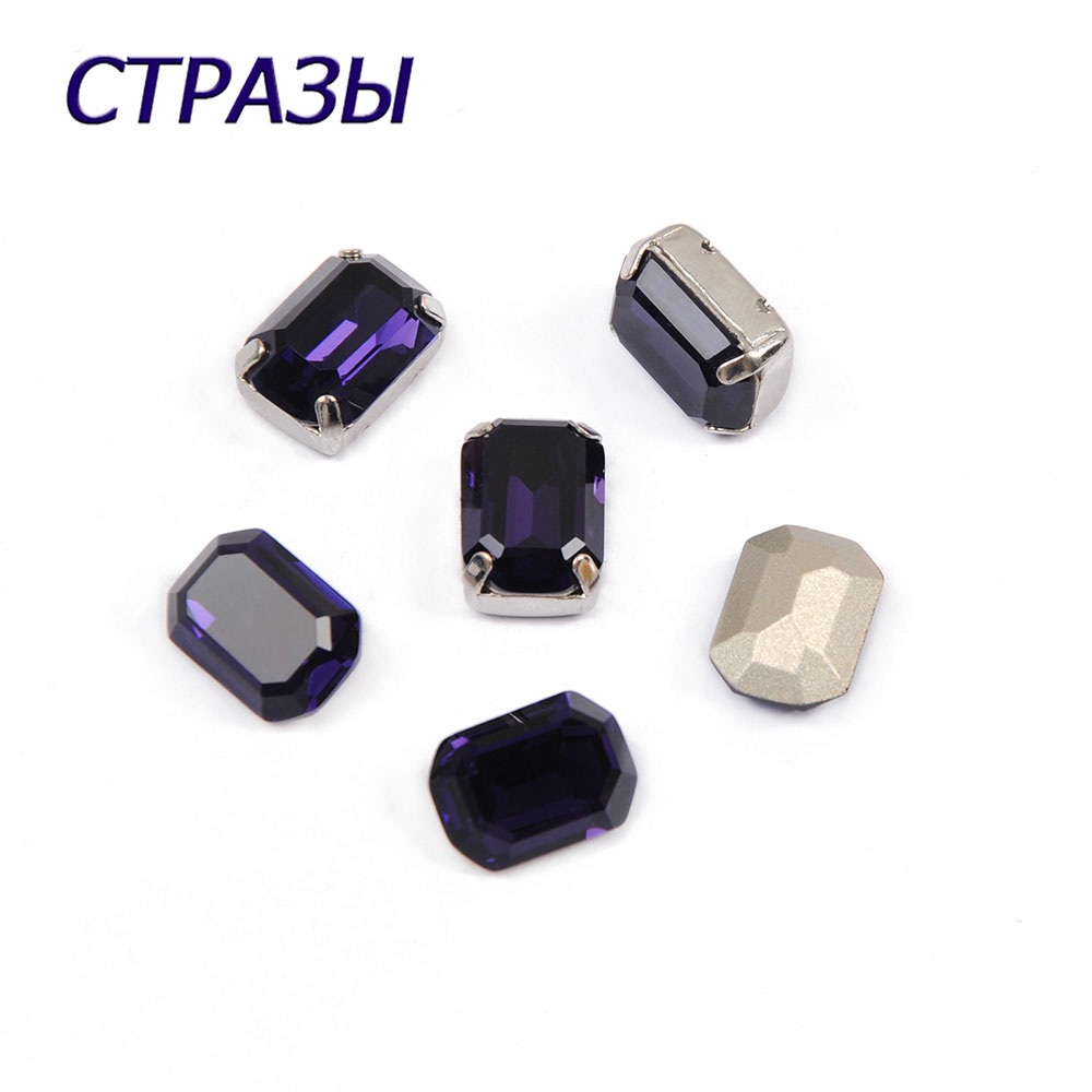CTPA3bI 4610 Octagon Shape Purple Velvet Color Crystal Plating Bead Charms Crafts Glass Beads DIY Jewelry Making Garments