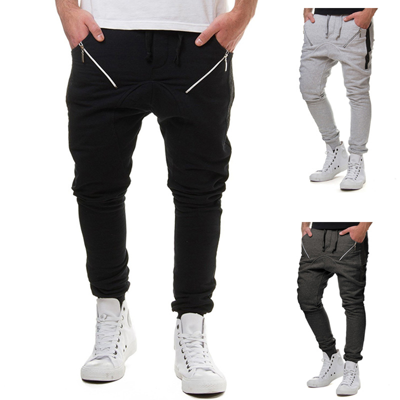 2018 New Style Men Fashion Zipper Joint With Drawstring Elastic Gymnastic Pants Men's Harem Casual Pants 7432