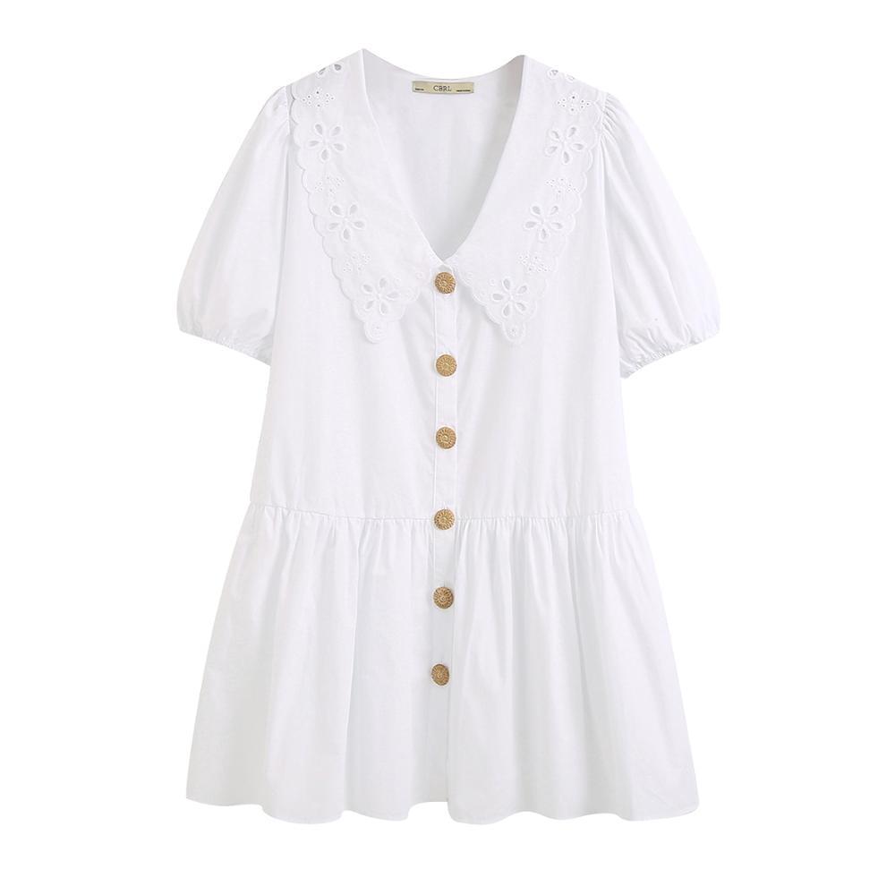 2020 Za Women Summer POPLIN DRESS WITH GUIPURE TRIM Short Dress With A Plunging V-neckline.