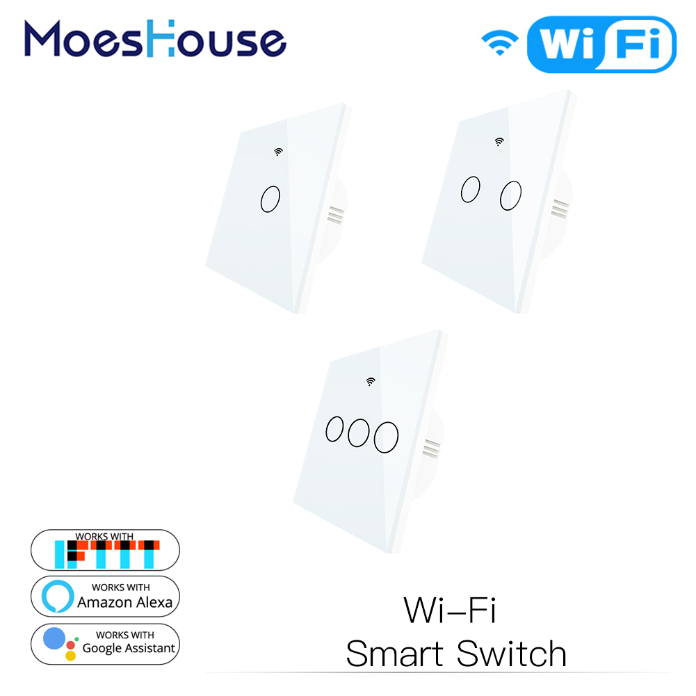 White WiFi Smart Wall Touch Light Switch Smart Life Tuya APP Wireless Remote Control Work With Alexa Echo Google Home