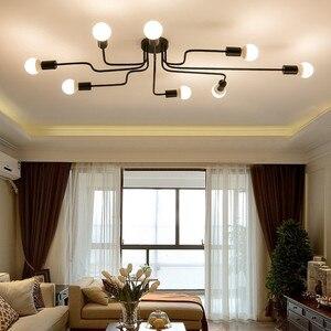 Image 2 - Moderne LED Decke Kronleuchter Mehrere Stange Schmiedeeisen Loft E27 Nordic Decke Kronleuchter Für Wohnzimmer Schlafzimmer Licht glanz