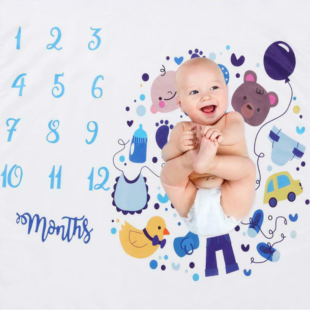 Monthly Milestone Polyester Backdrop Cloth Soft Photo Grops Baby Cartoon Calender Fashion Cute Photography Blanket Square Props