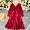 В винтажном стиле; С v-образным вырезом драпированное платье вечерние платья для женщин Повседневная юбка с высокой талией, с длинным рукаво...