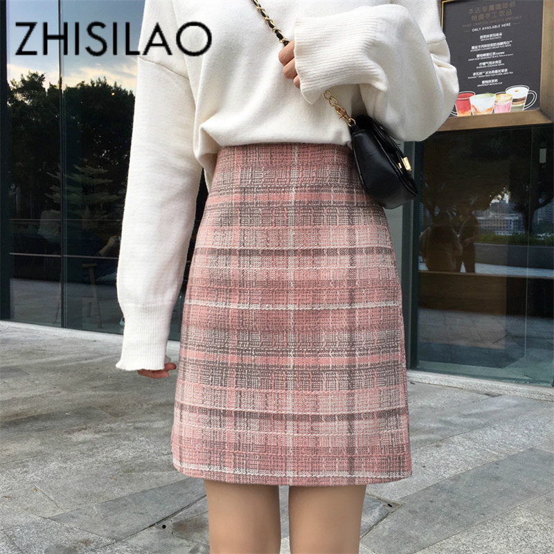 Hihg Waist Plaid Skirt Women Lattice Pink Skirt High Waist Midi Skirt Vintage Elegant Woolen A-line Skirt Femme Autumn 2019