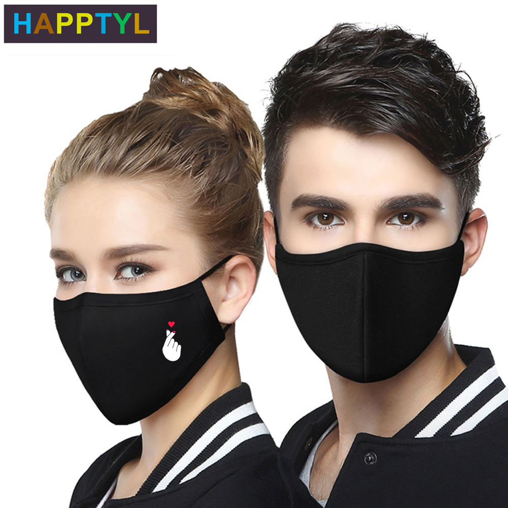 HAPPTYL 1Pcs PM2.5 Winter Women Men Mask Black Thicken Cotton Smog Mask Warm Dust Mask Suitable For Unisex