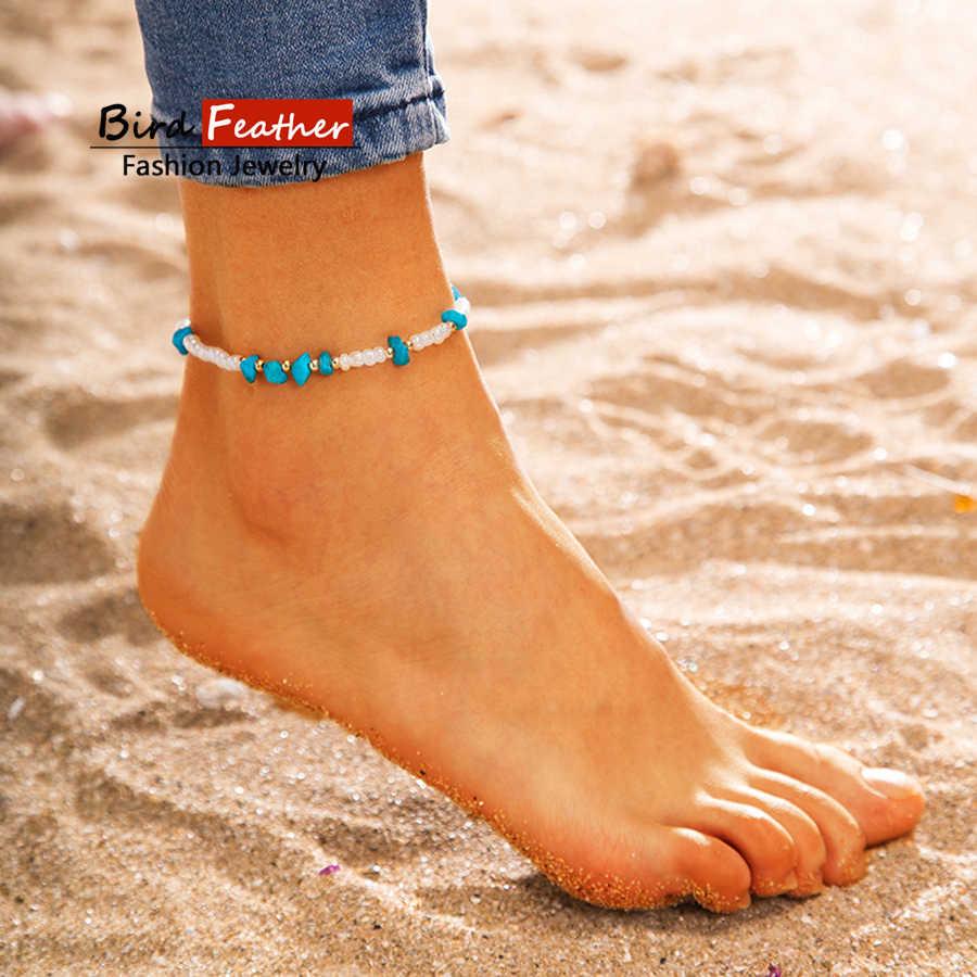 Винтажный античный браслет золотого цвета женский 1 слой каменных бусин геометрический браслет очаровательный богемский браслет на лодыжке Boho бижутерия для ног