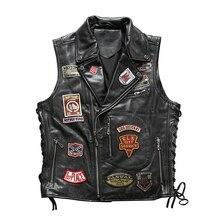 22085 Read Description! Asian size good quality Cow skin vest mens cowhide leather stylish rider vest
