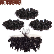 Hair-Bundles Closure Human-Hair Frontal Calla Curly Brazilian Remy Code Bouncy with 4--4