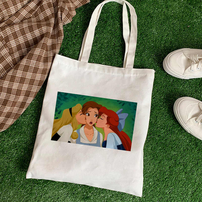 Three Princesses Are Good Friends TV Show Fun Print Women Bag Summer New Large-capacity Shoulder Canvas Bags Casual Fashion Tote