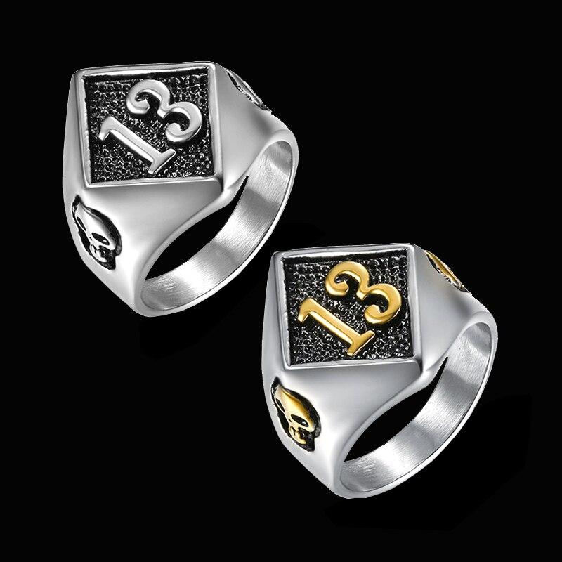 Motors Biker Lucky Number 13 Ring 316L Stainless Steel Men Boys Silver Size 8-20