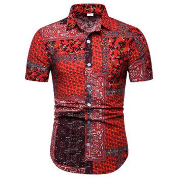 Koszulka w stylu Vintage mężczyźni Slim Fit Camisas Hombre 2019 nowy z krótkim rękawem Paisley koszula hawajska męskie bawełniane lniana sukienka koszule 5XL tanie i dobre opinie Liva girl Casual Shirts COTTON Linen Pojedyncze piersi Men Shirt Suknem Print Skręcić w dół kołnierz Na co dzień REGULAR