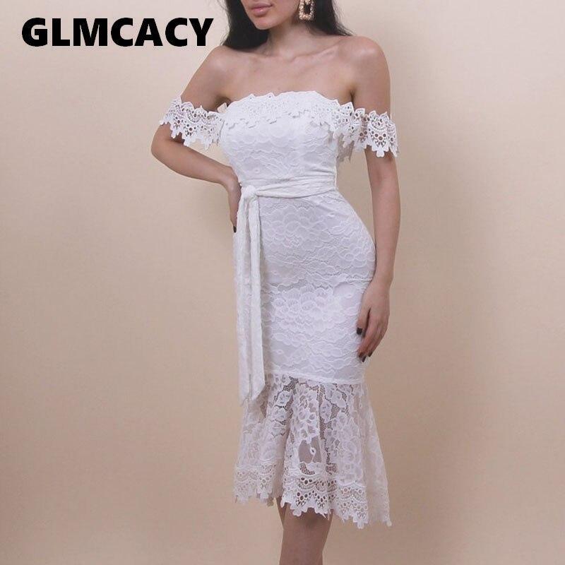 Women Off Shoulder Sexy Bodycon Midi Dress Slash Neck Lace Dress Elegant Summer Evening Party Vestidos