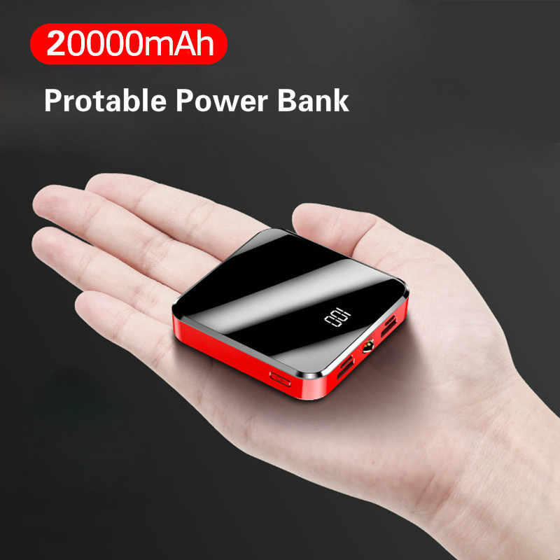 20000 M Ah Portable Mini Power Bank Cermin Layar LED Display Powerbank Kemasan Baterai Eksternal Poverbank untuk Xiaomi Iphone Huawei
