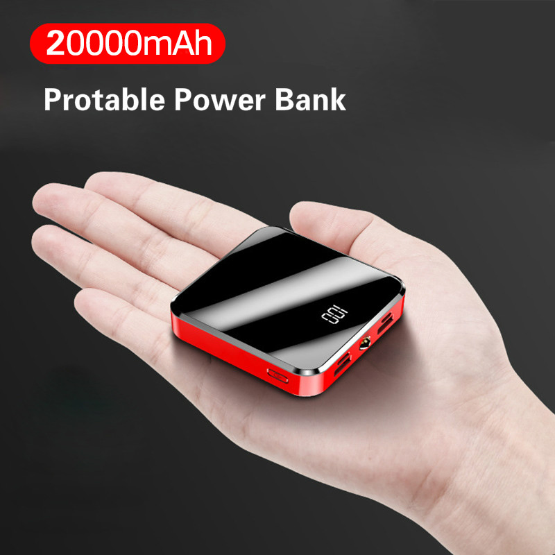 20000mAh Portable Mini Power Bank Mirror Screen LED Display Powerbank External Battery Pack Poverbank For Xiaomi IPhone Huawei