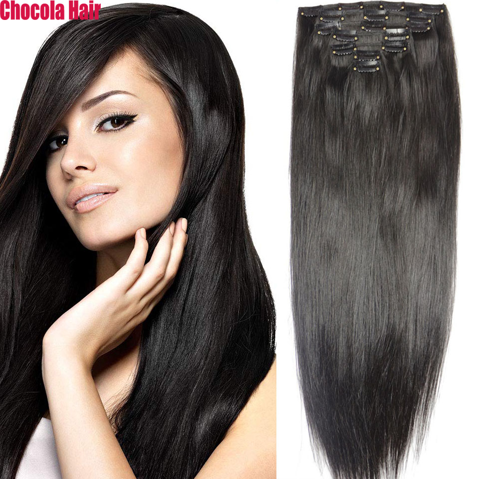 """Chocola Full Head Brazilian Machine Made Remy Hair 7pcs Set 140g 16""""-28"""" Natural Straight Clip In Human Hair Extensions"""
