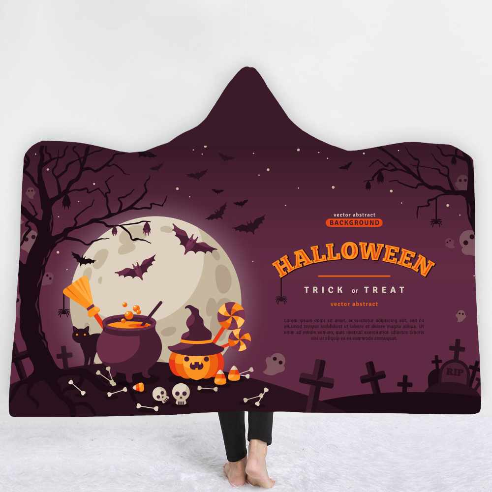 Halloween terror Boho Mandala Hooded Blanket Floral Sherpa Fleece Lotus Wearable Throw Microfiber on Sofa Thick warm