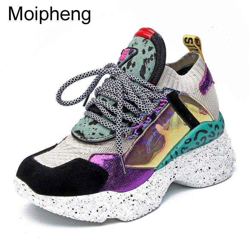 Moipheng 2019 Ankle Boots Plataforma Sneakers Mulheres 35-42 Preto Meia Botas de Crina De Cavalo Sapatos Casuais Respirável Sapatos Mulher Robusta