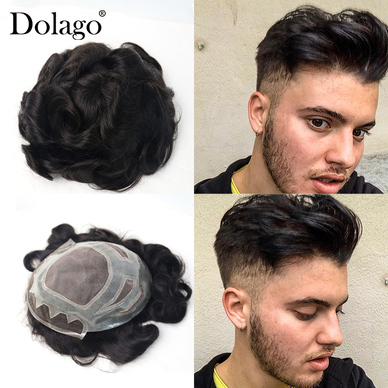 "8X10""French Lace Front Mono Center Poly Perimeter Hair Replacement System Repacement Hair Prosthesise Men's Toupee System Dolago"