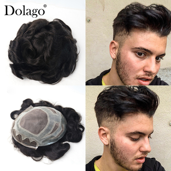 """8X10""""French Lace Front Mono Center Poly Perimeter Hair Replacement System Repacement Hair Prosthesise Men's Toupee System Dolago"""