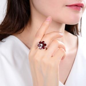 Image 2 - 보석의 팔찌 5.05Ct 자연 붉은 가닛 칵테일 반지 여성을위한 925 스털링 실버 보석 빈티지 꽃 반지 파인 쥬얼리
