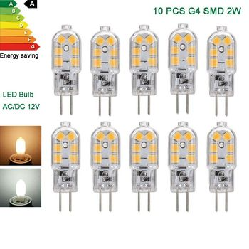 10x G4 LED bulbs COB 2W Capsule warm/cool white SMD 2835 chip Corn AC DC 12V Replace halogen Ceiling light accessories lamps jrled g4 cob g4 5w 400lm 7200k 9 cob cool white light spotlight silver black 12 14v