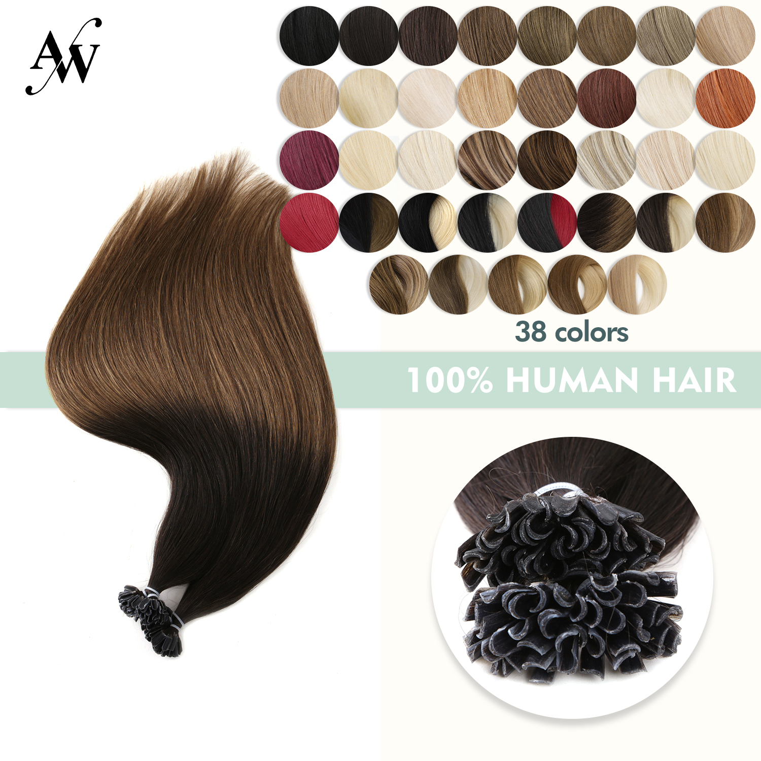 Aw 12'' 16'' 20'' 24''28'' Straight Keratin Pre-bonded U Tip Hair Extensions Machine Made Remy Capsule Fusion Nail Human Hair By Scientific Process